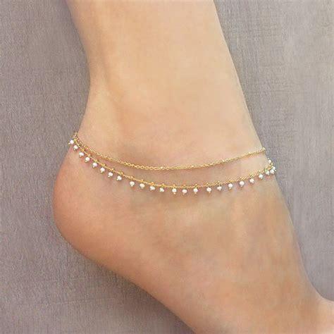 beaded anklet gold beaded chain anklet summer boho ankle bracelet