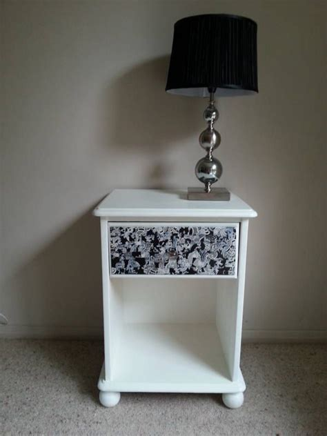 decoupage bedside table offers black and white bedside table with decoupage