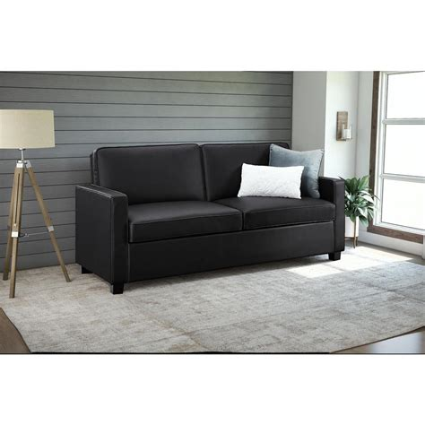 faux leather loveseat sleeper casey size black faux leather sleeper sofa 2152007 the alley cat themes