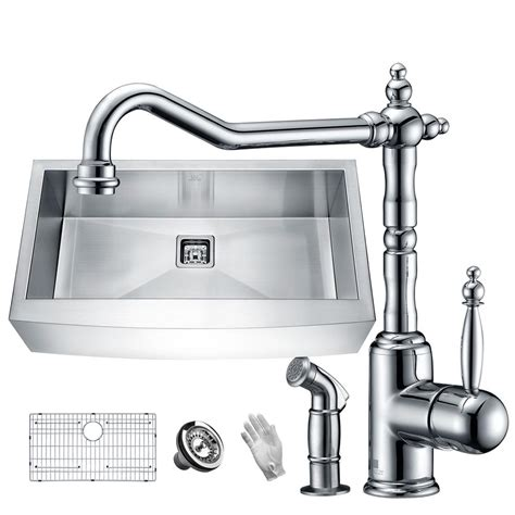 stainless steel faucet kitchen anzzi elysian farmhouse stainless steel 36 in single bowl kitchen sink with faucet in polished
