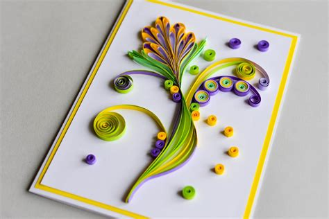 how to make a birthday card how to make greeting card quilling flower step by step