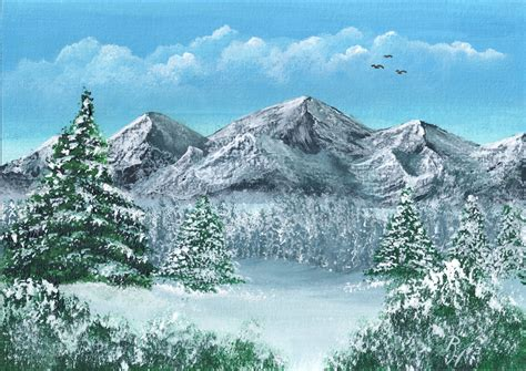 acrylic painting mountains winter in the mountains acrylic painting landscape