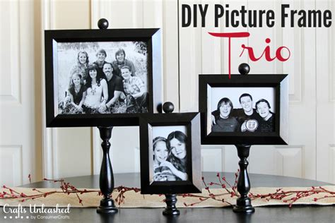 diy picture frame trio on pedestals crafts unleashed