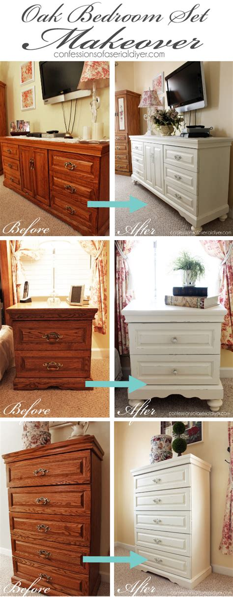 diy chalk paint bed oak bedroom set painted in diy chalk paint what a