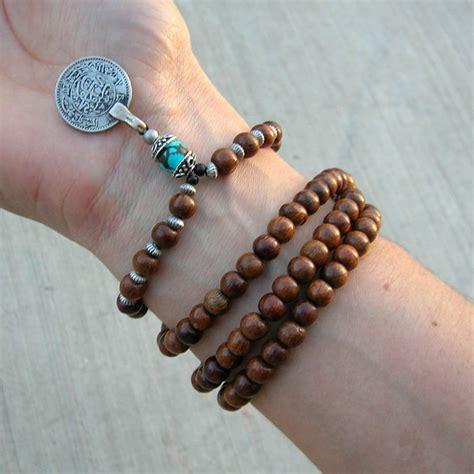 prayer bead bracelets 108 wood prayer and turquoise gemstone with vintage