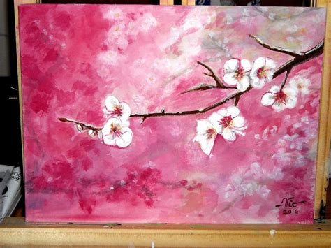 acrylic painting cherry blossom timelapse acrylic painting cherry blossoms how to paint