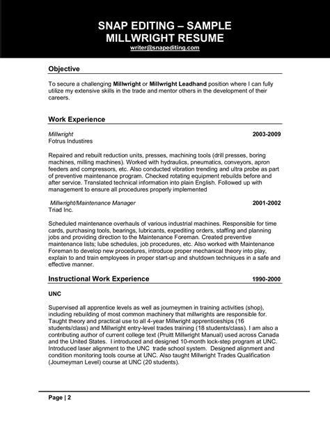 millwright resume sample customer service resume student