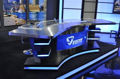 tv studio desk set design fabrication