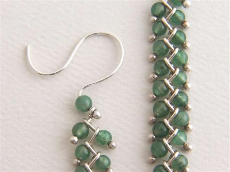 beading earrings sterling bead earrings dangle earrings green bead