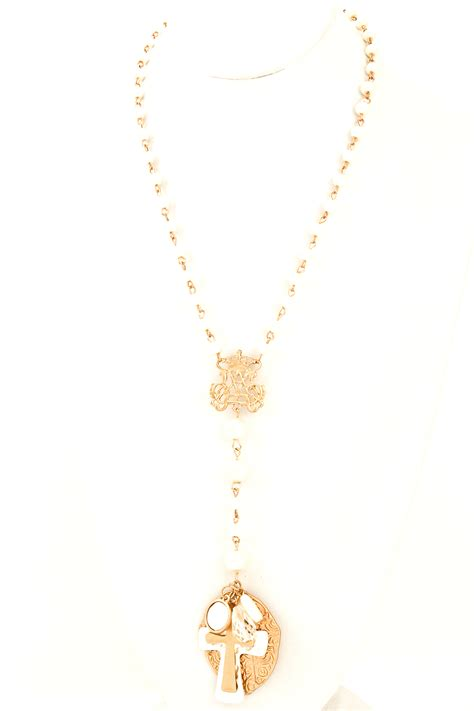 bead cross necklace beaded pearl two tone cross necklace necklaces