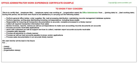 office administrator work experience certificates