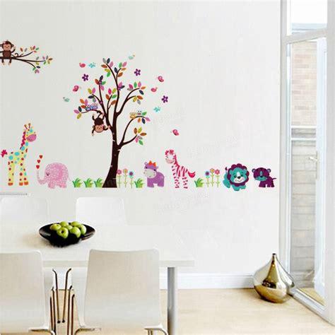 jungle tree wall stickers 2pcs large jungle tree wall sticker nursery decals