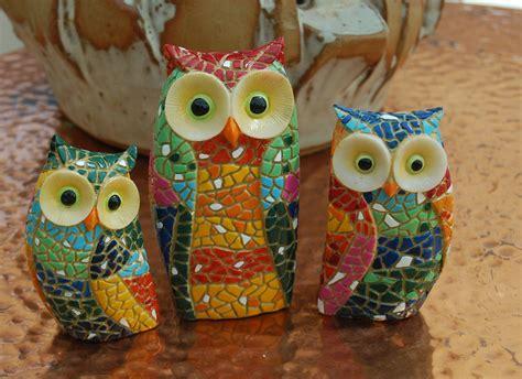 owls ornaments three mosaic owl ornaments owls owl