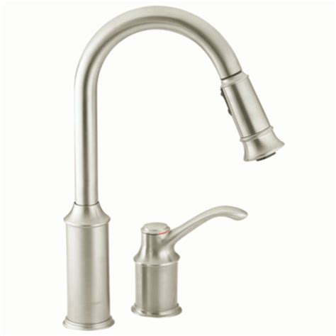 faucet kitchen moen 7590csl aberdeen one handle high arc pulldown kitchen