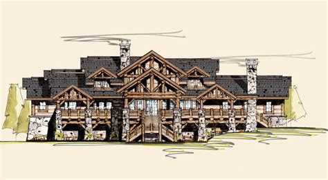 3 Car Detached Garage elk lodge rustic home designs rustic home floor plans