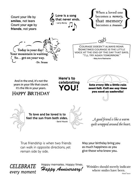 card sentiments cards birthday sayings on 72 pins