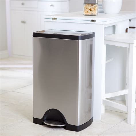 kitchen trash can simplehuman 174 rectangle step trash can brushed stainless