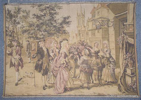 Antique Belgium Tapestry Gentlemen Flower Cart