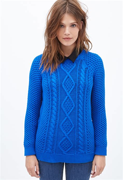 fisherman cable knit sweater forever 21 cable knit fisherman sweater in blue lyst