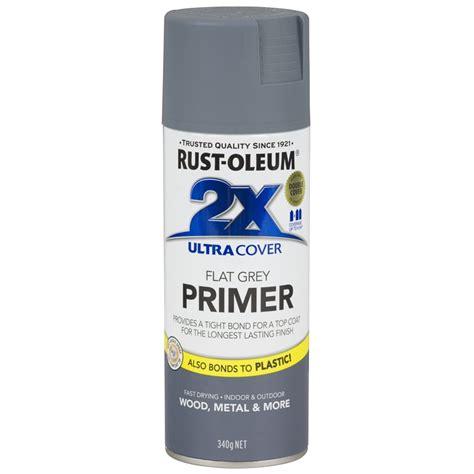 Rust Oleum 340g Ultra Cover 2x Spray Paint Grey Primer