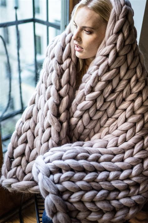 knitting a big blanket chunky knit blanket yarn throw wrap arm by woolartdesign