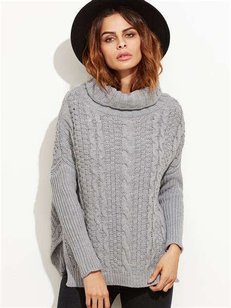 cable knit turtleneck sweater grey cable knit turtleneck high low sweater makemechic