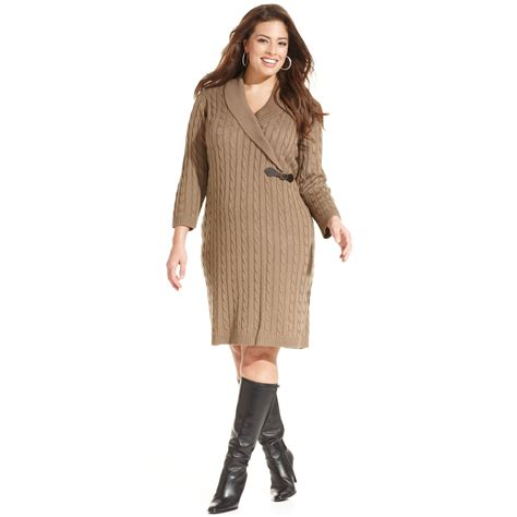 Calvin Klein Plus Size Cable Knit Sweater Dress In Beige