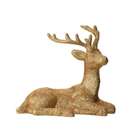 gold reindeer gold glitter reindeer by sainsbury s gold and jewels