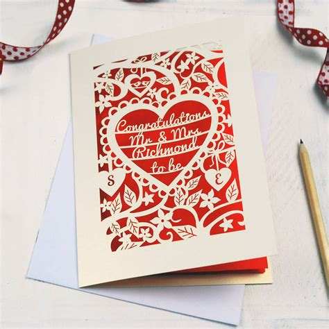 make personalised cards personalised papercut engagement card by