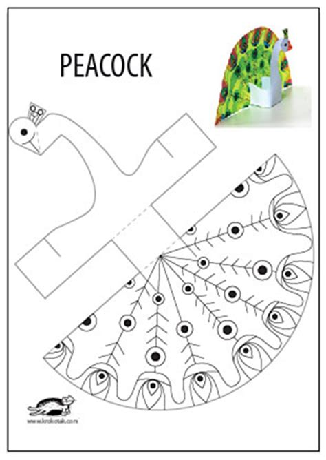 free paper crafts printables krokotak glue less printable peacock