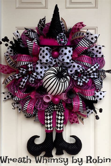 pink wreaths pink black deco mesh witch by wreathwhimsybyrobin