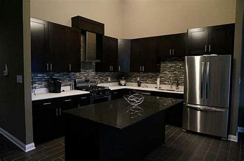 black modern kitchen cabinets modern kitchen with l shaped slate counters in fishers