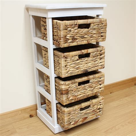 wicker storage drawers bathroom hartleys large white 4 basket chest home storage unit