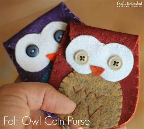 felt craft projects patterns felt owl coin purse tutorial free pattern crafts unleashed