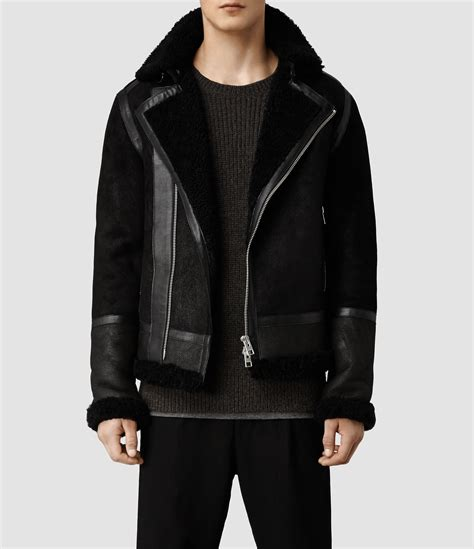 leather and shearling jacket allsaints union shearling leather jacket in black for lyst