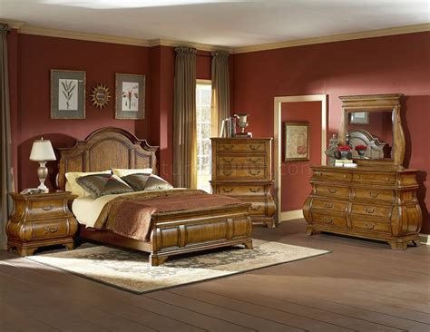 traditional style bedroom furniture warm brown finish traditional style bedroom w optional items