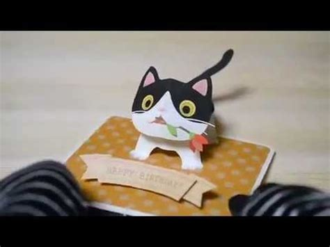 how to make a pop up cat card pop up birthday card ブチネコちゃん bicolor cat