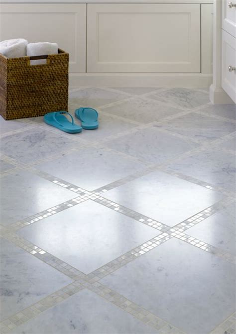 bathroom floor with marble tiles and marble mosaic inset tiles i loveee this look so clean