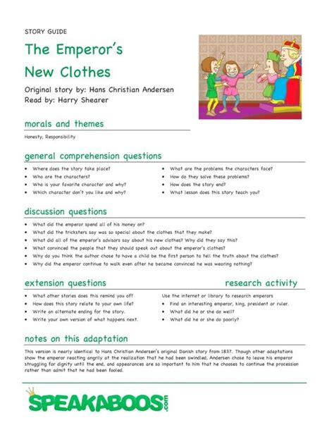 the guided reading s companion prompts discussion starters teaching points lesson plans the emperor s new clothes speakaboos