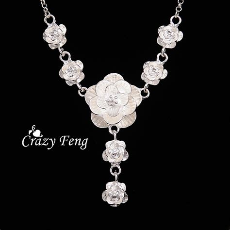 jewelry free shipping new free shipping silver plated jewelry necklace flower