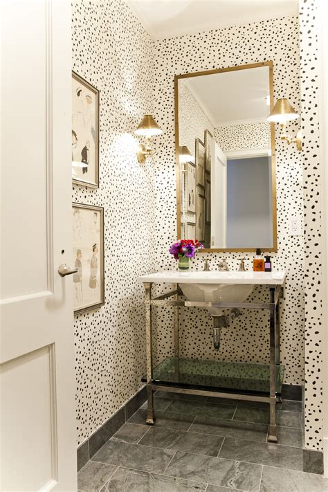 designer bathroom wallpaper spotted wallpaper the covetable
