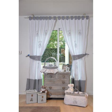 rideaux de chambre collection petit ourson gris et blanc cocon d amour