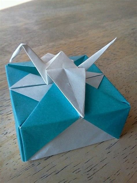 folded square origami paper origami box with crane box folded from 6 quot square crane