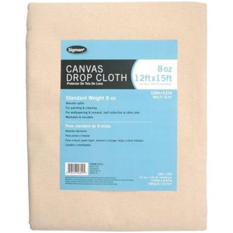 home depot paint drop cloth sigman 11 ft 6 in x 14 ft 6 in 8 oz canvas drop