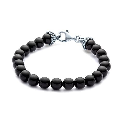 black onyx bead bracelet for elements gemstone bead bracelet 8mm black onyx landing