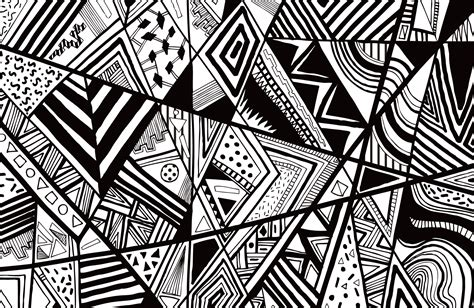 black white abstract pattern vector line drawing graphic