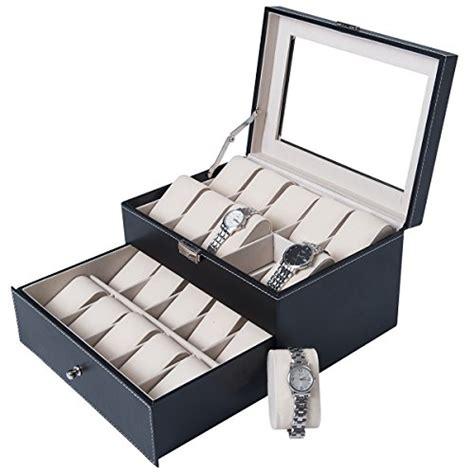 dxp pr 233 sentoir bo 238 te coffret 224 montre noir coffret en cuir de rangement pour 20 montres avec
