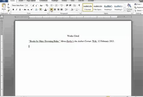 how to make a page a works cited page in word and docs