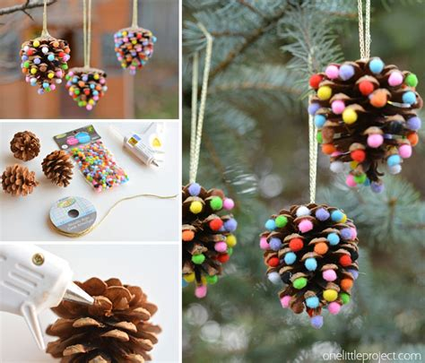pine cones tree ornaments pom poms and pinecones ornaments