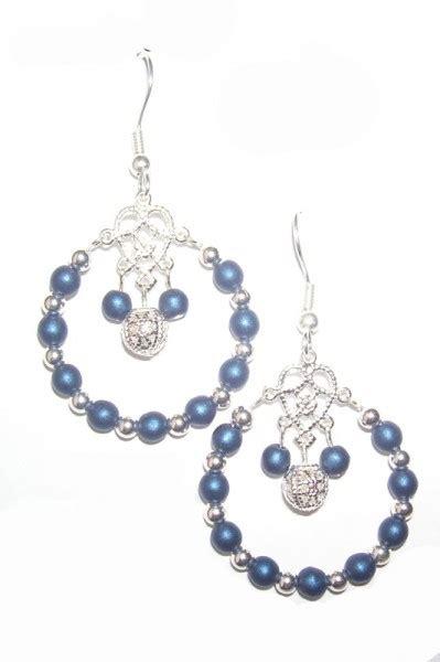 how to make glass bead earrings druk satin blue glass bead earrings beadage